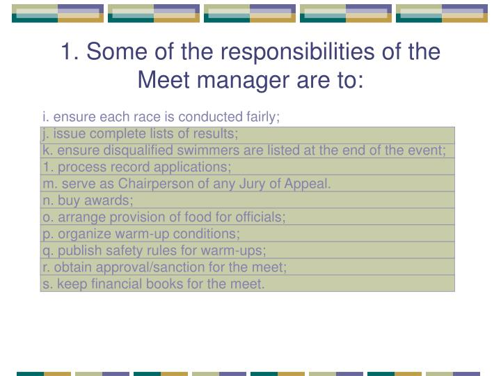 1. Some of the responsibilities of the Meet manager are to: