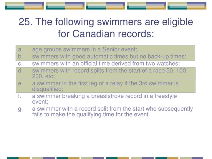 25. The following swimmers are eligible for Canadian records: