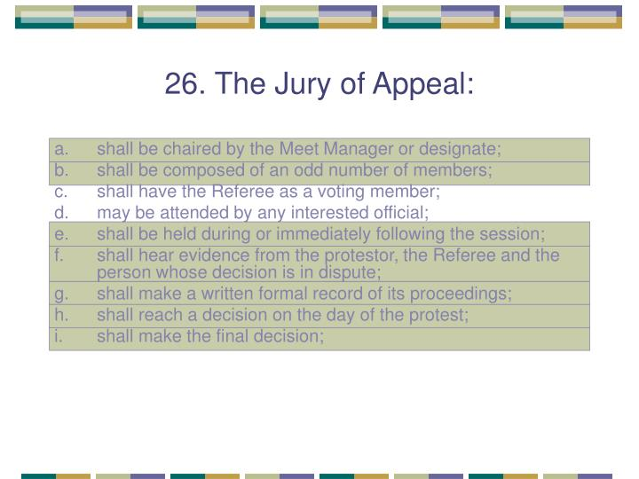 26. The Jury of Appeal: