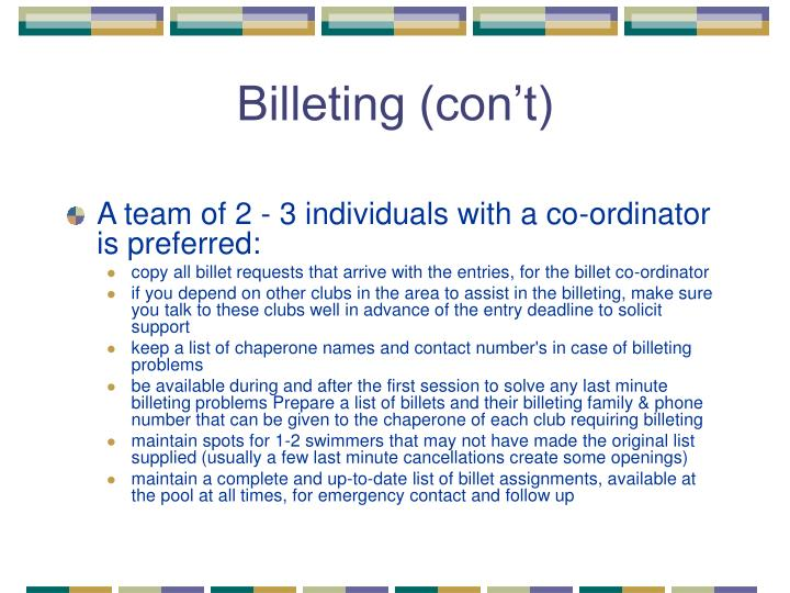 Billeting (con't)