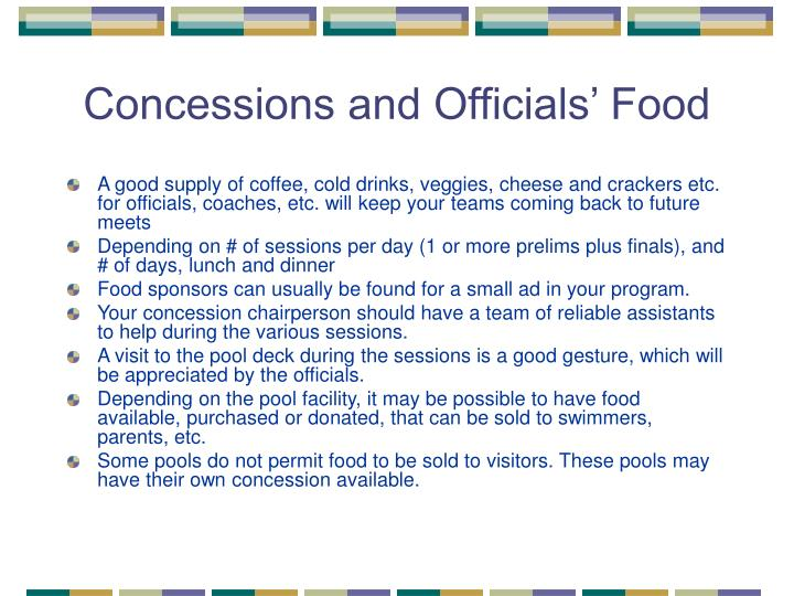 Concessions and Officials' Food