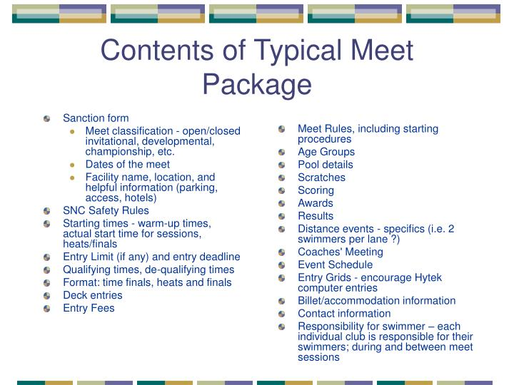 Contents of Typical Meet Package