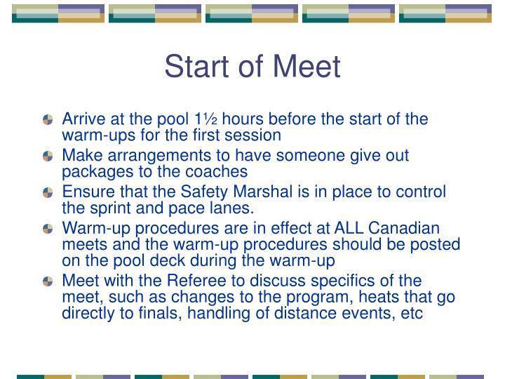 Start of Meet