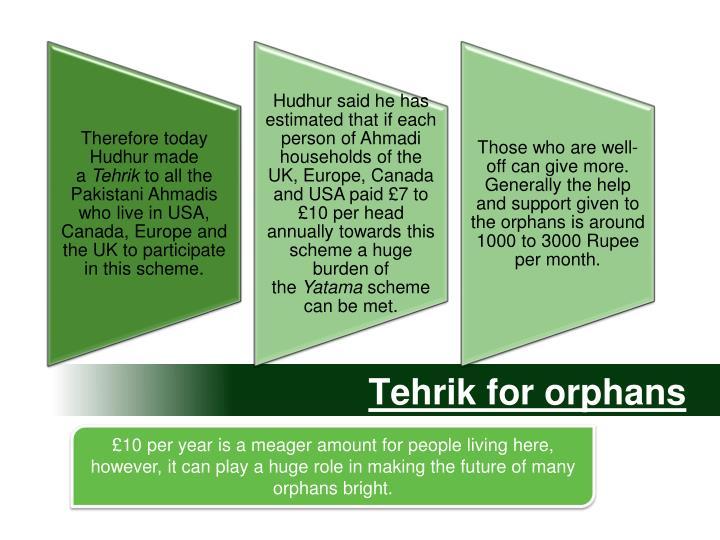 Tehrik for orphans
