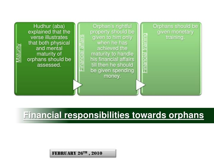 Financial responsibilities towards orphans