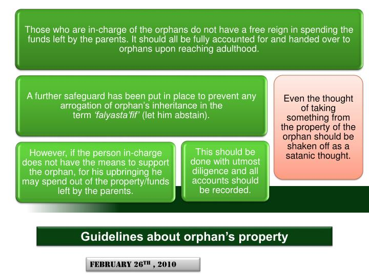 Guidelines about orphans property