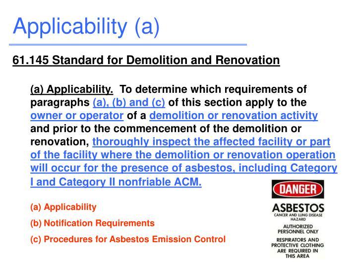 Applicability (a)