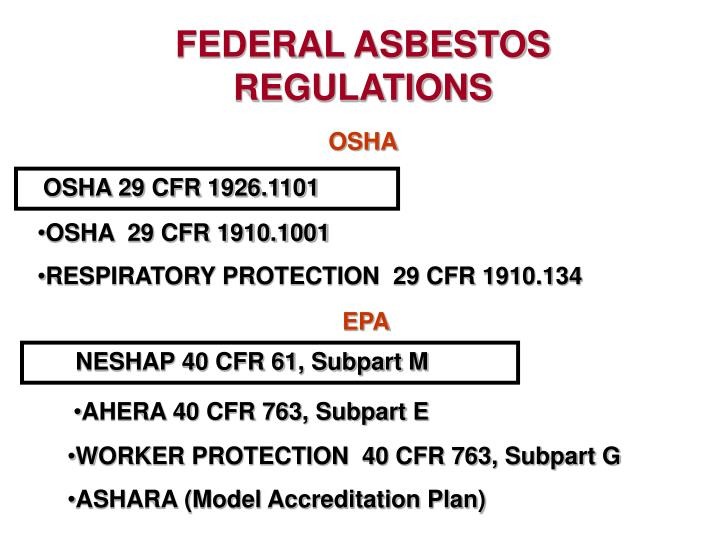 FEDERAL ASBESTOS REGULATIONS