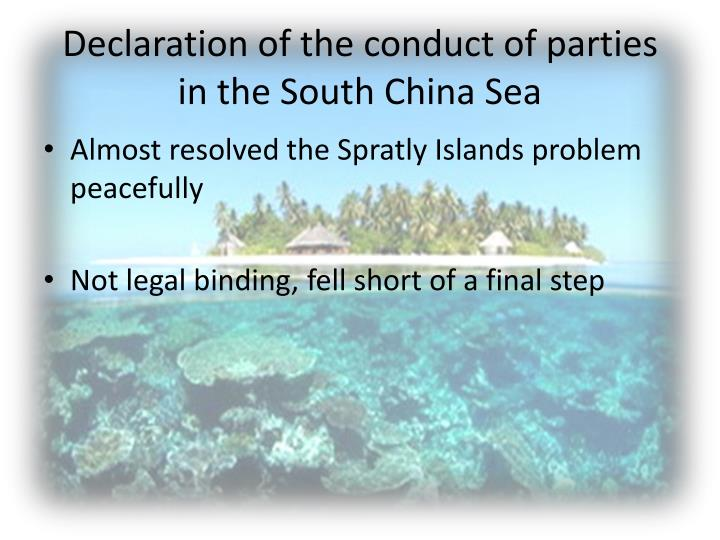 Declaration of the conduct of parties in the South China Sea