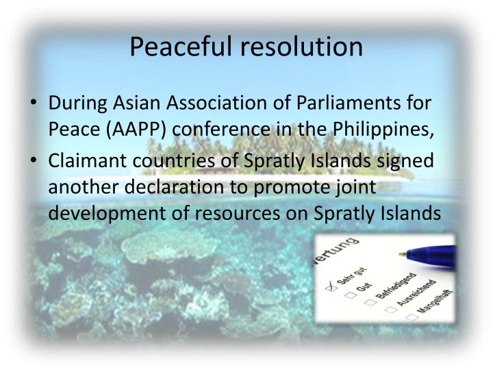 Peaceful resolution