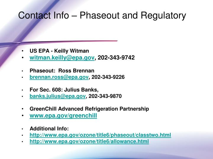 Contact Info – Phaseout and Regulatory