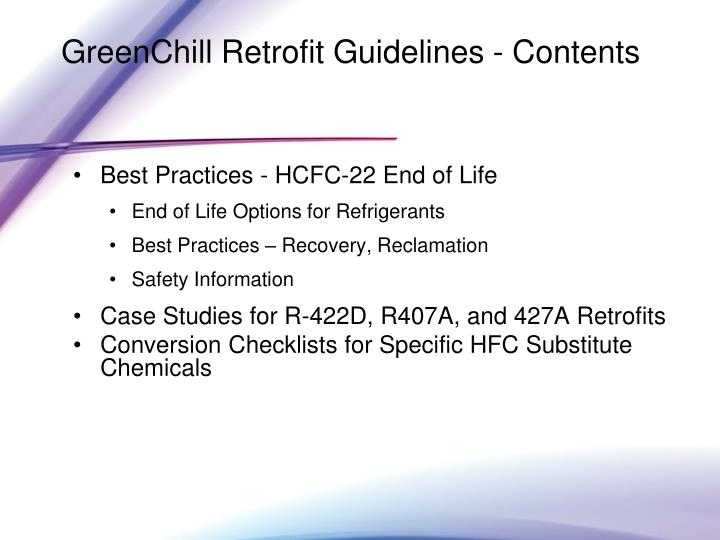 GreenChill Retrofit Guidelines - Contents