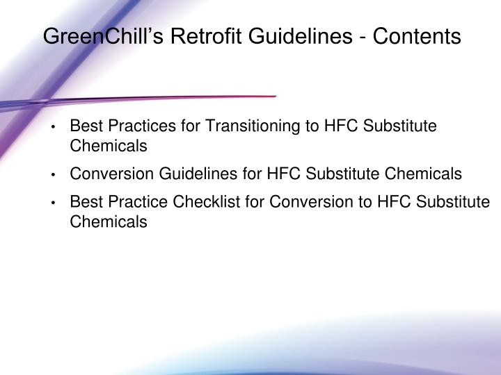 GreenChill's Retrofit Guidelines - Contents