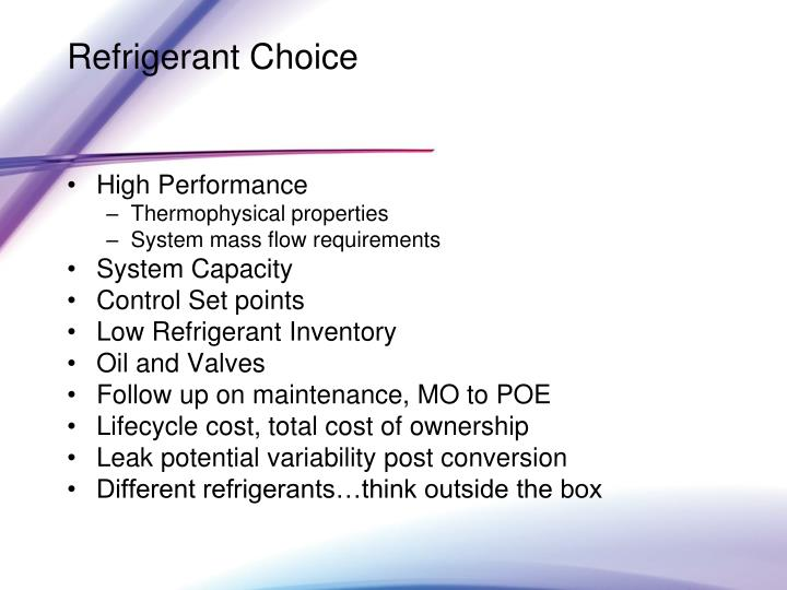 Refrigerant Choice
