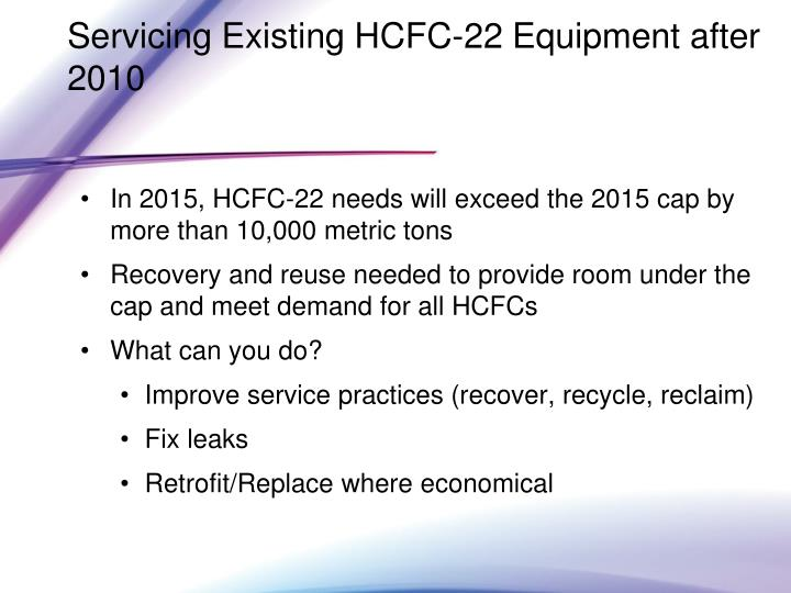 Servicing Existing HCFC-22 Equipment after 2010
