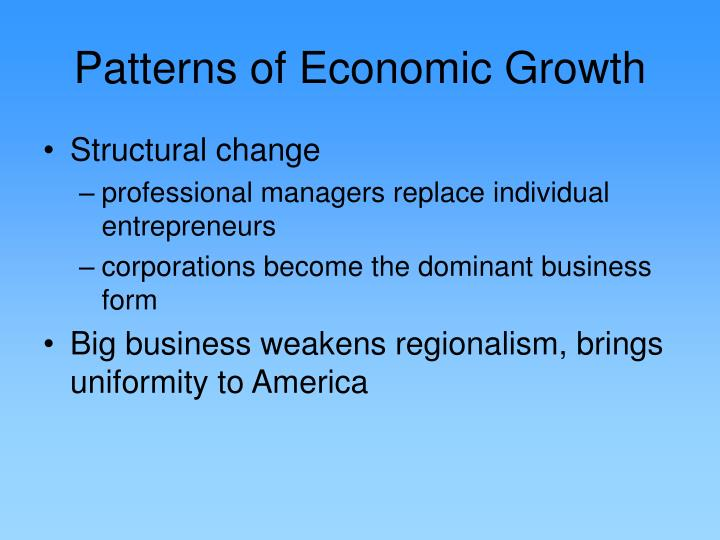 Patterns of Economic Growth