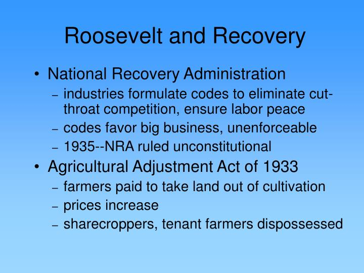 Roosevelt and Recovery