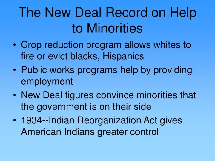 The New Deal Record on Help to Minorities