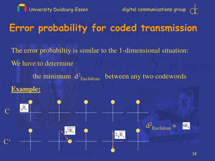 Error probability for coded transmission