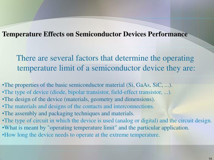 Temperature Effects on Semiconductor Devices Performance