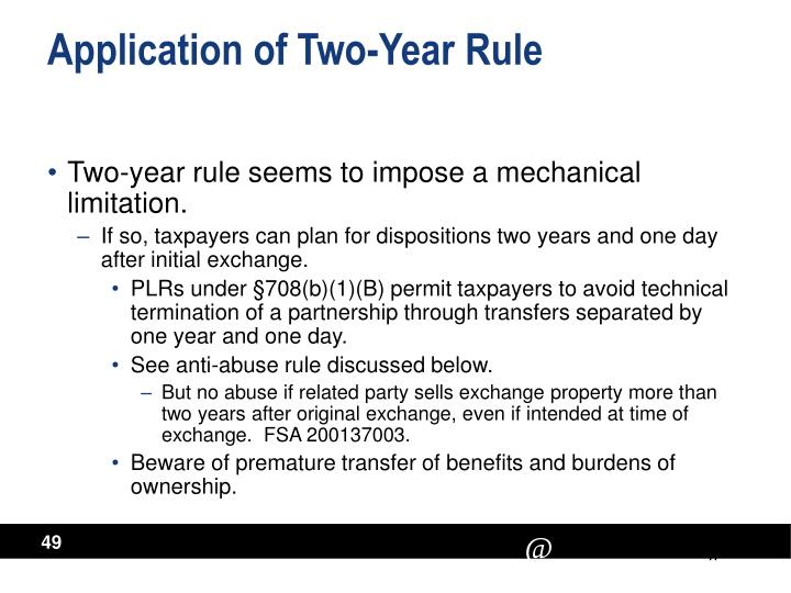 Application of Two-Year Rule