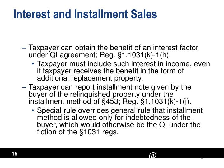 Interest and Installment Sales
