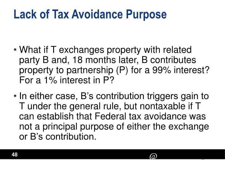 Lack of Tax Avoidance Purpose