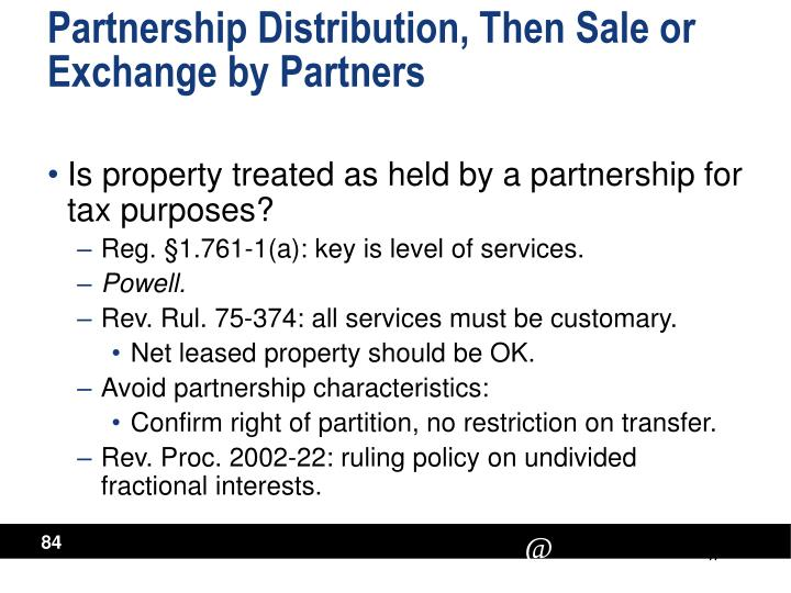 Partnership Distribution, Then Sale or Exchange by Partners