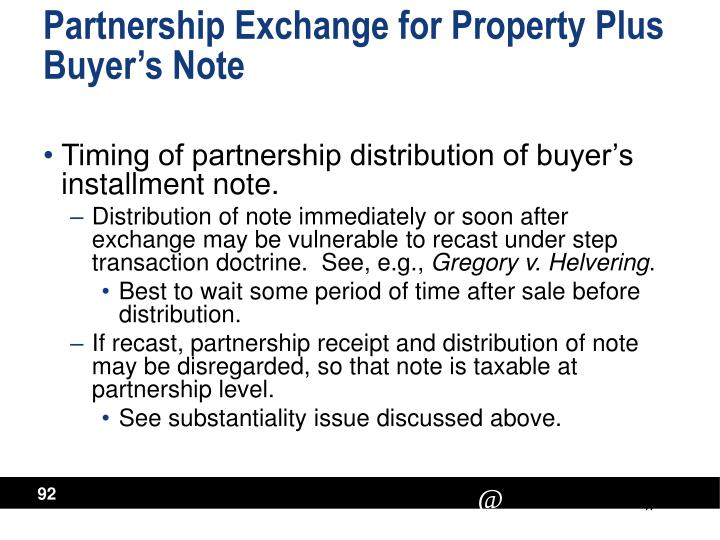 Partnership Exchange for Property Plus Buyer's Note