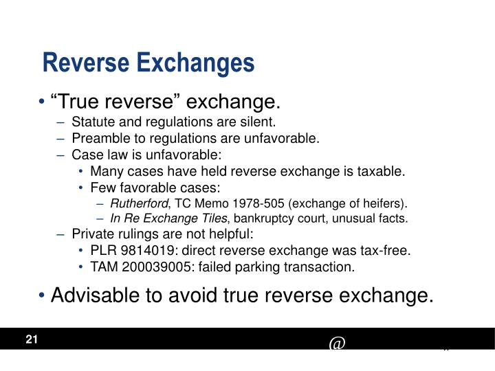 Reverse Exchanges