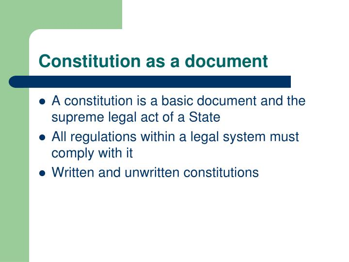 Constitution as a document