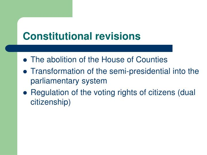 Constitutional revisions
