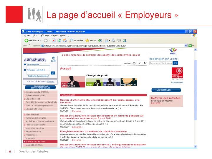 La page d'accueil «Employeurs»