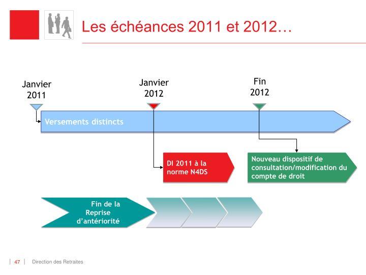 Les échéances 2011 et 2012…