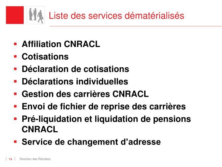 Liste des services dématérialisés