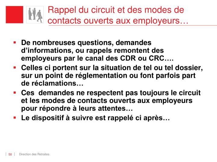 Rappel du circuit et des modes de contacts ouverts aux employeurs…
