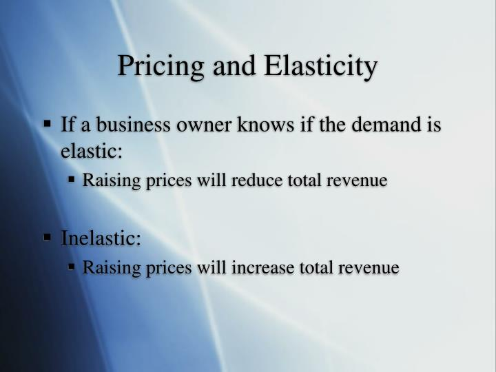 Pricing and Elasticity