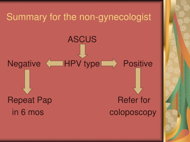 Summary for the non-gynecologist