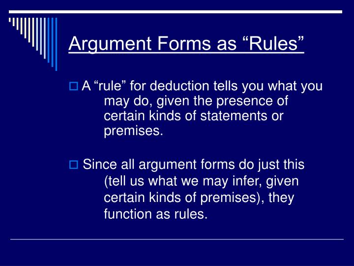 Argument forms as rules