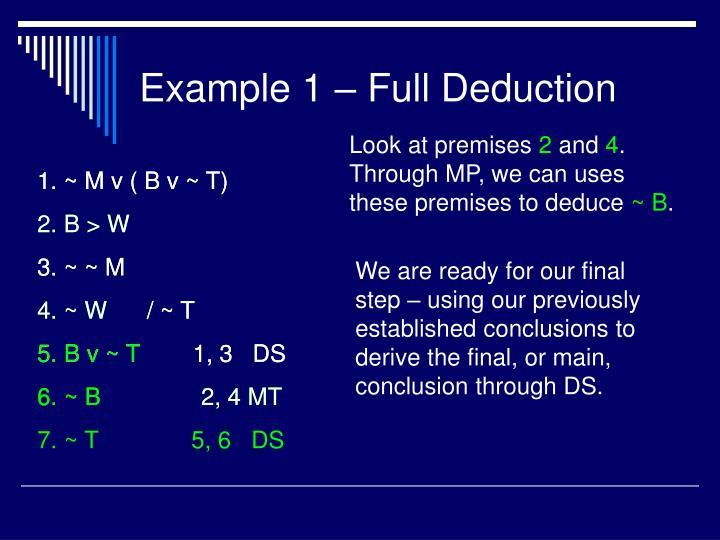 Example 1 – Full Deduction