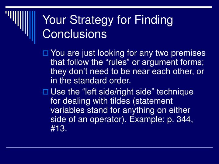 Your Strategy for Finding Conclusions