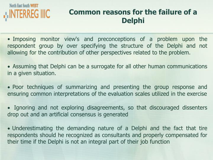 Common reasons for the failure of a Delphi