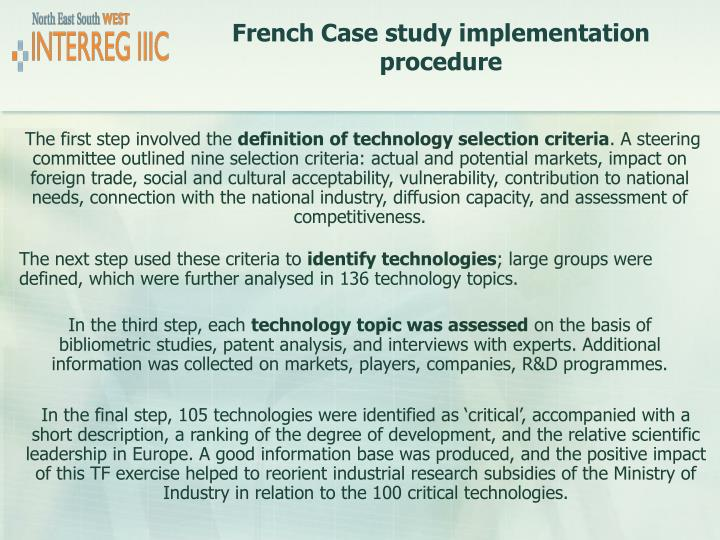French Case study implementation procedure