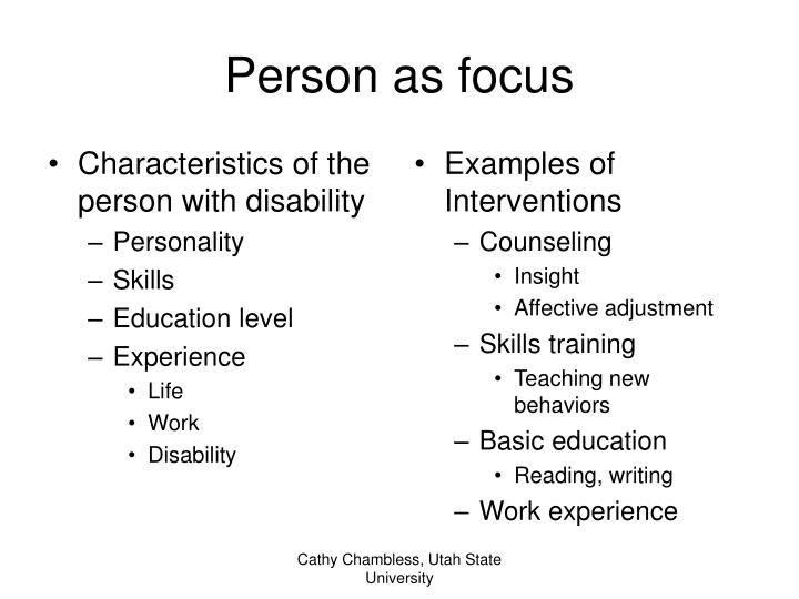 Characteristics of the person with disability