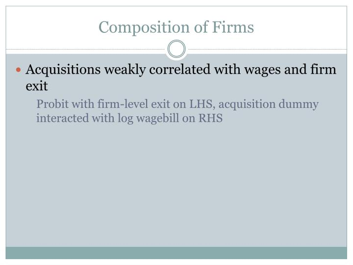 Composition of Firms