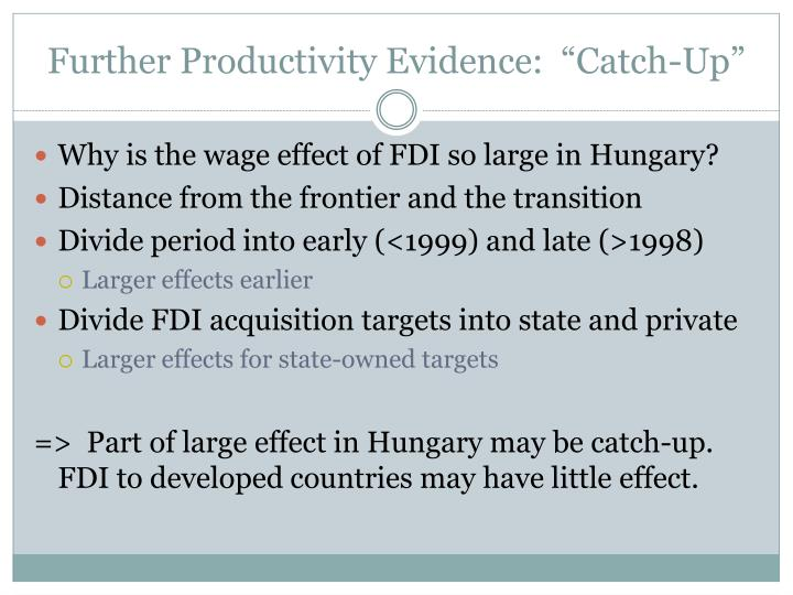 "Further Productivity Evidence:  ""Catch-Up"""