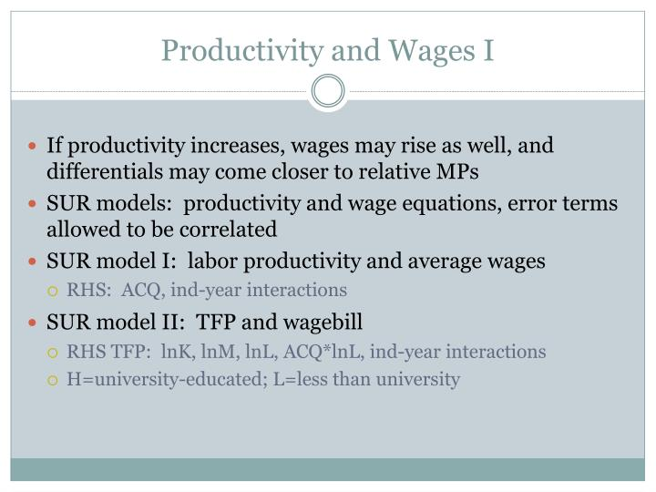 Productivity and Wages I