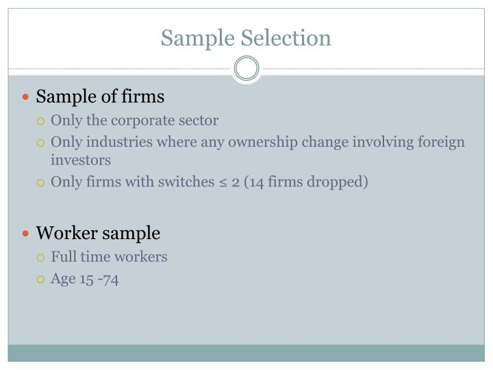 Sample of firms