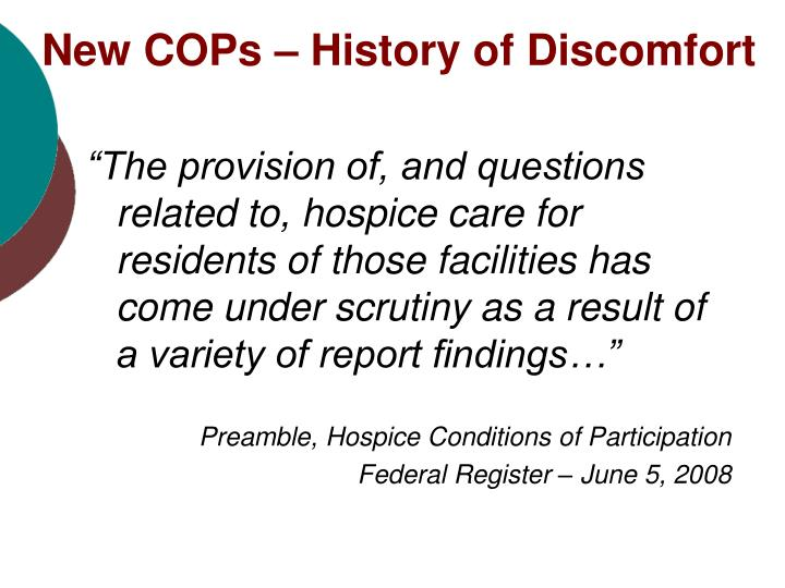 New COPs – History of Discomfort