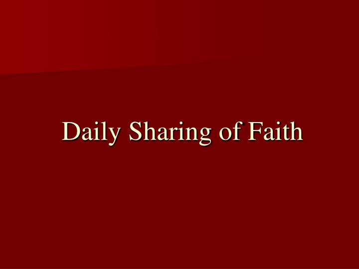 Daily Sharing of Faith
